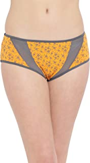 Clovia Women's Mid Waist Floral Print Hipster Panty with Mesh Panels in Orange - Cotton