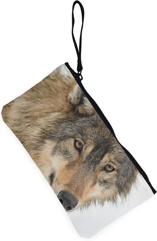 AORRUAM Brown wolf head Canvas Coin Purse,Canvas Zipper Pencil Cases,Canvas Change Purse Pouch Mini Wallet Coin Bag