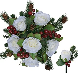 Winter Berry Rose Bridal Bouquet + Matching Boutonniere - Silk Wedding Flower - Ivory & Red- 12 in. Round