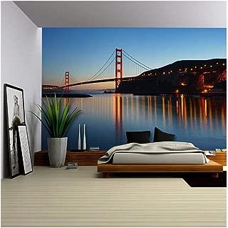 wall26 - Golden Gate Bridge at Twilight. San Francisco, USA - Removable Wall Mural   Self-Adhesive Large Wallpaper - 66x96 inches