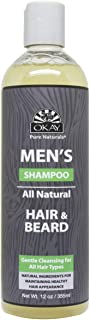 Okay men's all natural for hair & beard shampoo 12 fluid ounce, Yellow, 12 Fluid Ounce