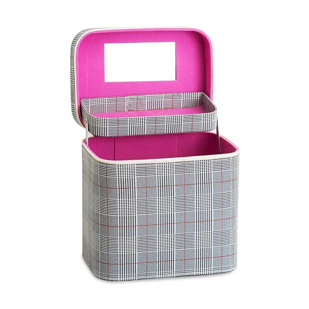 例外対利点SZTulip コスメボックス メイクボックス 大容量メイクケース 化粧品収納ケース 小物入れ 鏡付き 化粧箱 (グレー+レッドチェック)