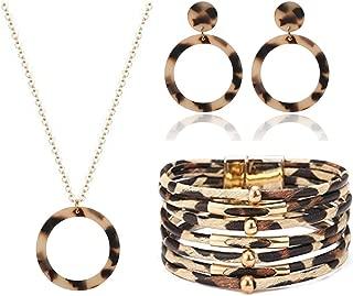 3Pcs Leopard Necklace Earrings Bracelet Set Multilayer Leather Cuff Bracelet Geometric Hoop Disc Dangle Earrings for Women