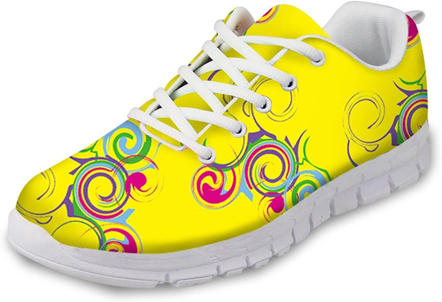 Yellow Womens Tennis shoes Stylish Pattern Design Sneakers Lightweight Running shoes