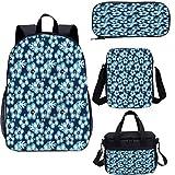 Juego de mochila para adolescentes de 17 pulgadas, hibiscus Hawaiian Flowers School Bags Set para trabajo, escuela, viajes, picnic