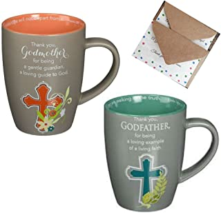 Godfather and Godmother Gifts- bundle includes 2-12oz coffee mugs and 2 mini gift cards (4 items)