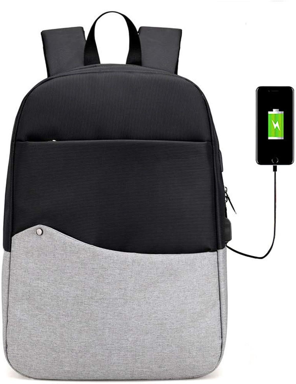 HUDUI Rucksack USB Aufladen zurück zweifarbige Outdoor-Reiserucksack Mode lssig Sportrucksack Reitrucksack Canvas Reiserucksack