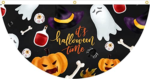 wholesale Halloween sale Bunting Flag Hanging Banner Semicircle Flag for Indoor Outdoor Party Decoration, outlet sale 35×18 inches (Style A) online