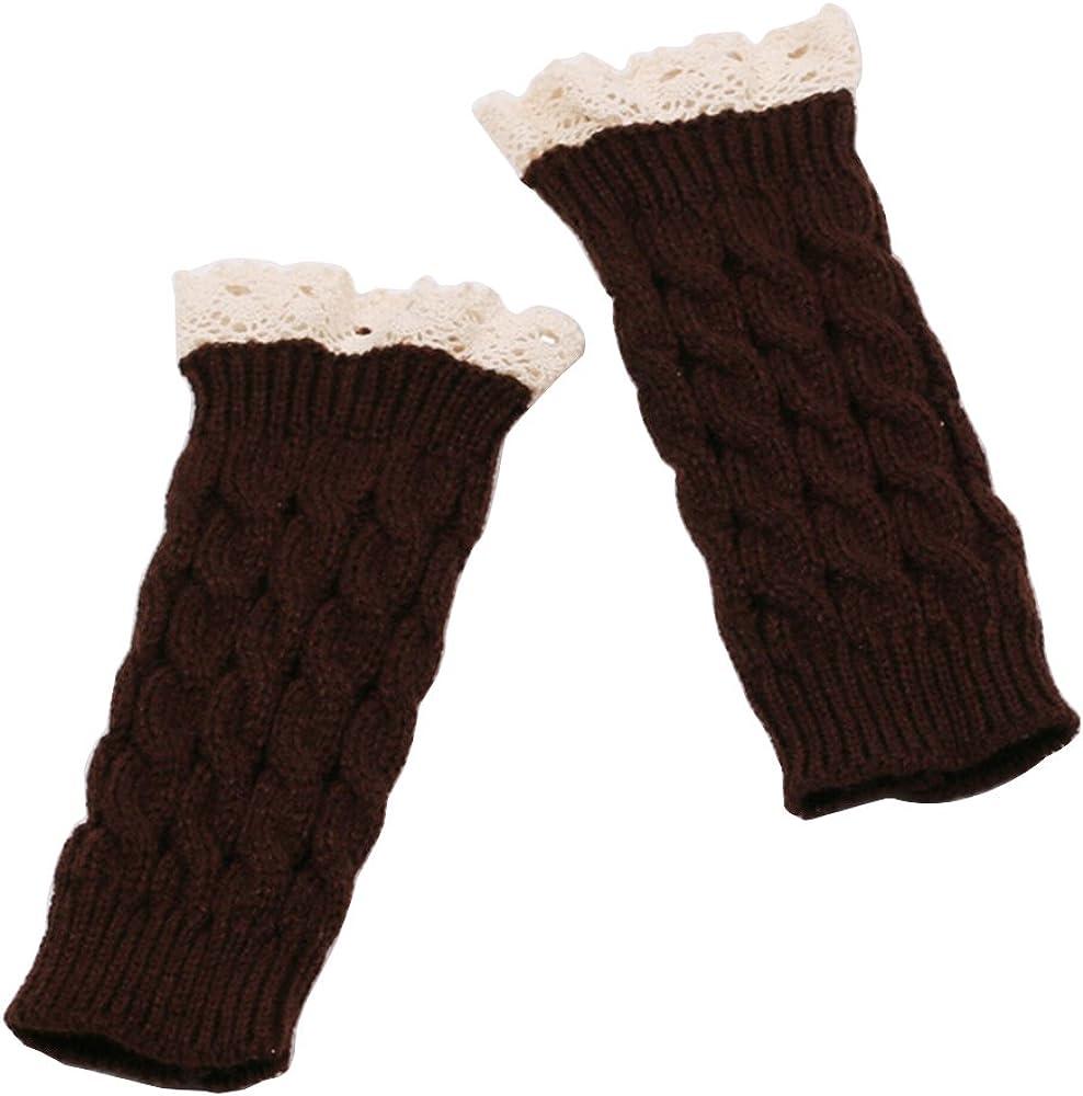 Gloves,Gilroy Women Soft Lace Crochet Knit Fingerless Wrist Warm Mitten