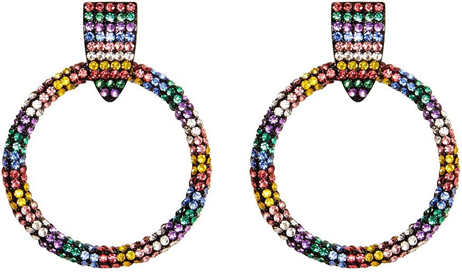 Women's Earrings Fashion Wild Dress with Diamond Stud Earrings Europe and The New Personality colorful Rhinestone Earrings colorful, Ladies Birthday Gift