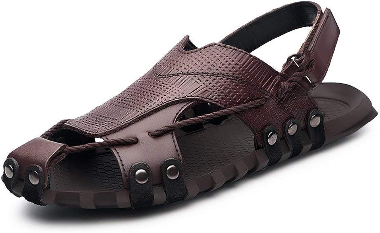 Fuxitoggo 2018 Sandals Mens Genuine Cow Leather Beach Slippers Casual Hemp Rope Non-Slip Soft Flat Sandals shoes (color  Brown, Size  38 EU) (color   Brown, Size   43 EU)