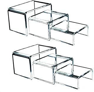 Clear Acrylic Risers for Display - Set of 3 Showcase Shelf for Figures, Buffets, Cupcakes and Jewelry Display Stands - Extra Thick and No Sticky Protective Film by Art of Acrylic 3 6