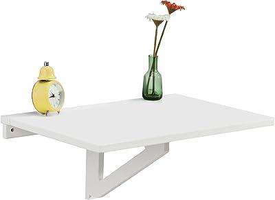 SoBuy FWT03-W Table Murale Rabattable en Bois, Table de Cuisine, Table Enfant, L60×P40cm -Blanc