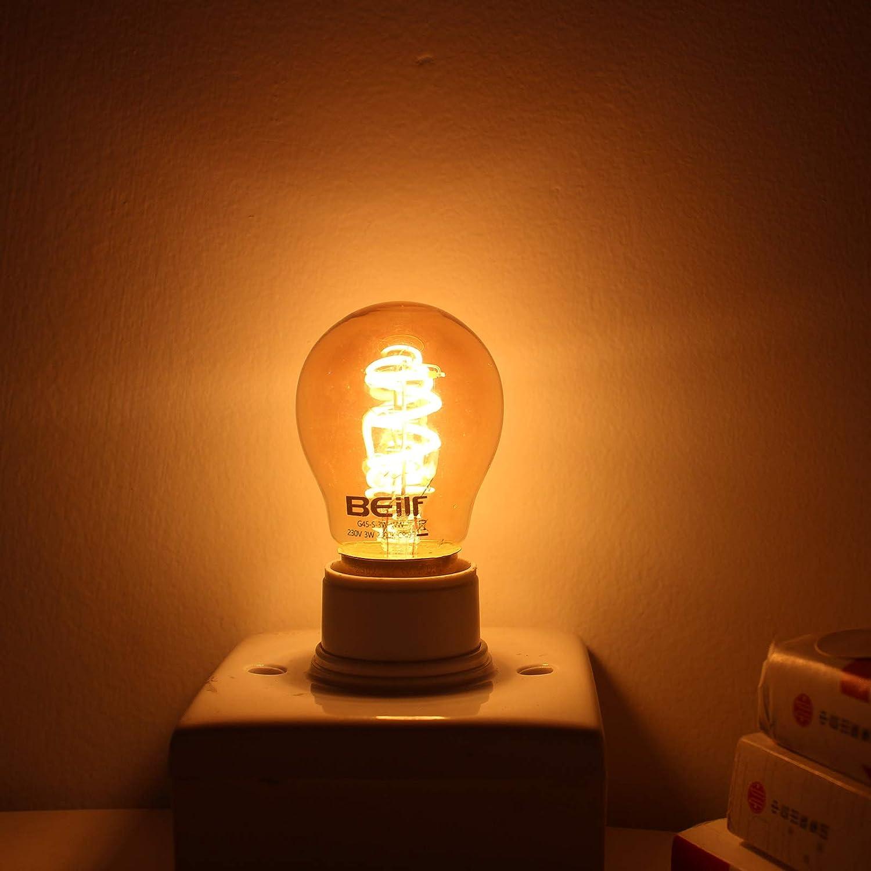 E26 Base Dimmable 4W Flicker Free,Warm White 2200K High CRI95 Beilf Spiral Filament LED Vintage Edison Light Bulbs ST21//ST64 Edison Light Bulbs 40 Watt Equivalent,4 Pack