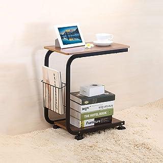 YOKIA Movable Desk Side Table Tray Cart 4 Wheels Steel Legs Wood Desktop Office Home Desk Shelf Organizer Bookcase, Walnut