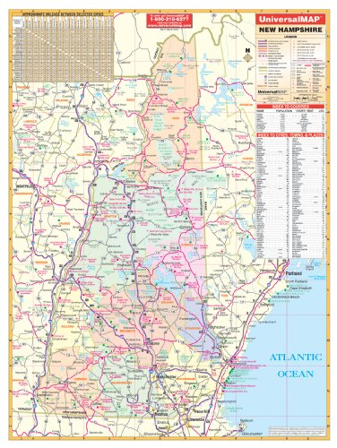 New Hampshire Wall Map - 40x54- Laminated on Roller/Metal Back Board