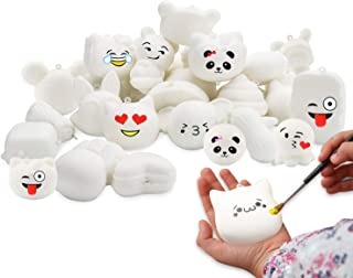 WATINC Random 30 Pcs DIY Squishy Cream Scented Kawaii Simulation Lovely Toy Medium Mini Soft Food Squishy Bread Toys Keychains, Phone Straps, Bonus Random Emoji Stickers