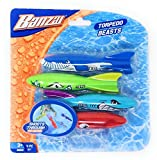 Banzai Swimming Pool Diving Toys Torpedo Beasts Sharks, 4 in a Pack, Ages 3+