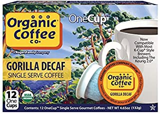 The Organic Coffee Co. OneCup Gorilla DECAF (12 Count) Single Serve Coffee Compatible