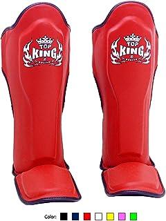 KINGTOP Top King Muay Thai Shin Pads TKSGP GL - Shin Guards Pro Genuine Leather -Red w/Black Trim size: M L XL, Shin Protection for Muay Thai Kick Boxing MMA K1