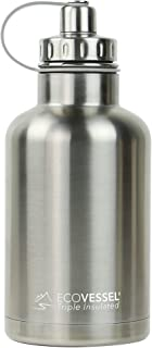 EcoVessel The Boss Tri Max Vacuum Insulated Stainless Steel Growler Bottle With Tea