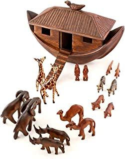 handmade wooden noah's ark set