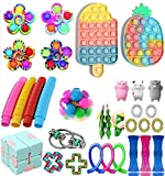 Fidget Toys Pack, Sensory Fidget Toys Cheap, Fidget Toy Set Figetgets-Toys Pack Fidget Box, Fidget Pack with Simples Fidgets in It, Gifts for Kids&Adults with Autism (30 Pcs Fidget Packs)