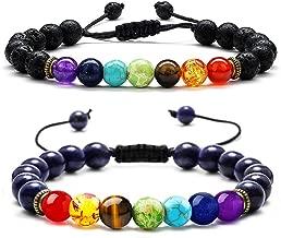 PAERAPAK Chakra Bead Bracelets for Women - 8mm Lava Rock Stone Bracelet 7 Chakras Men Anxiety Bracelet Aromatherapy Essential Oil Diffuser Bracelets Yoga Beads Bracelets