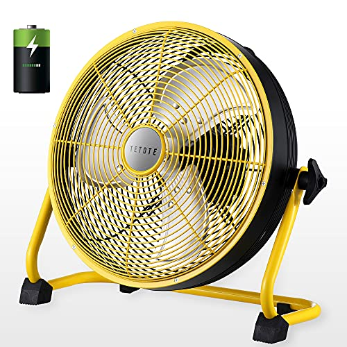 """TETOTE Battery operated fans Rechargeable 12"""" Battery Powered Fans,Cordless fan,12000mAh High Velocity Floor Fan With Metal Blade Power Bank USB For Phone, Waterproof Portable,Outdoor,Camping,Gym"""