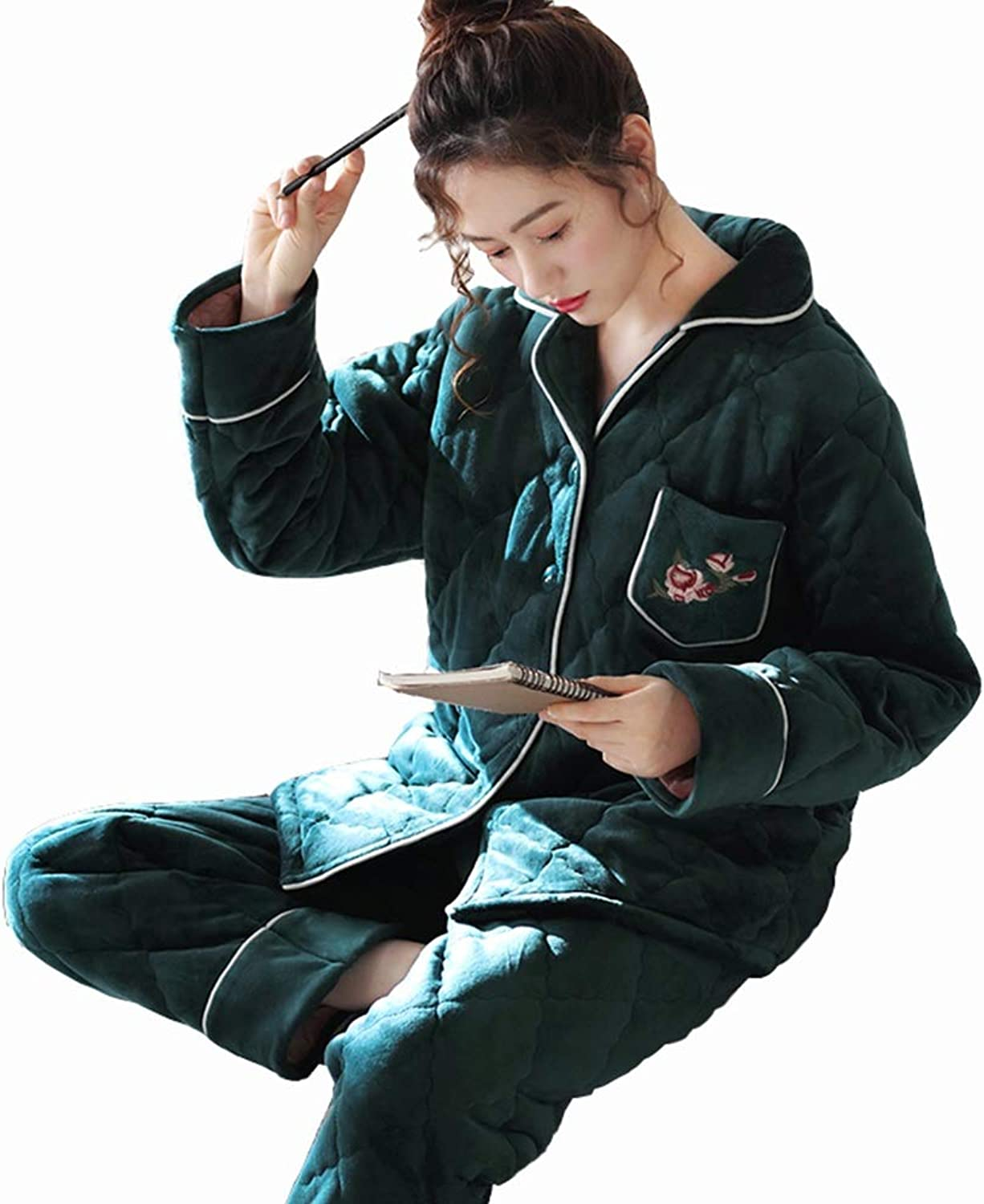 GWDJ Pajamas, Winter ThreeTier Thicken Keep Warm Pajamas Female Cotton Loose Splicing Edge Casual Home Clothing Set, Green, Purple (color   Green, Size   M)