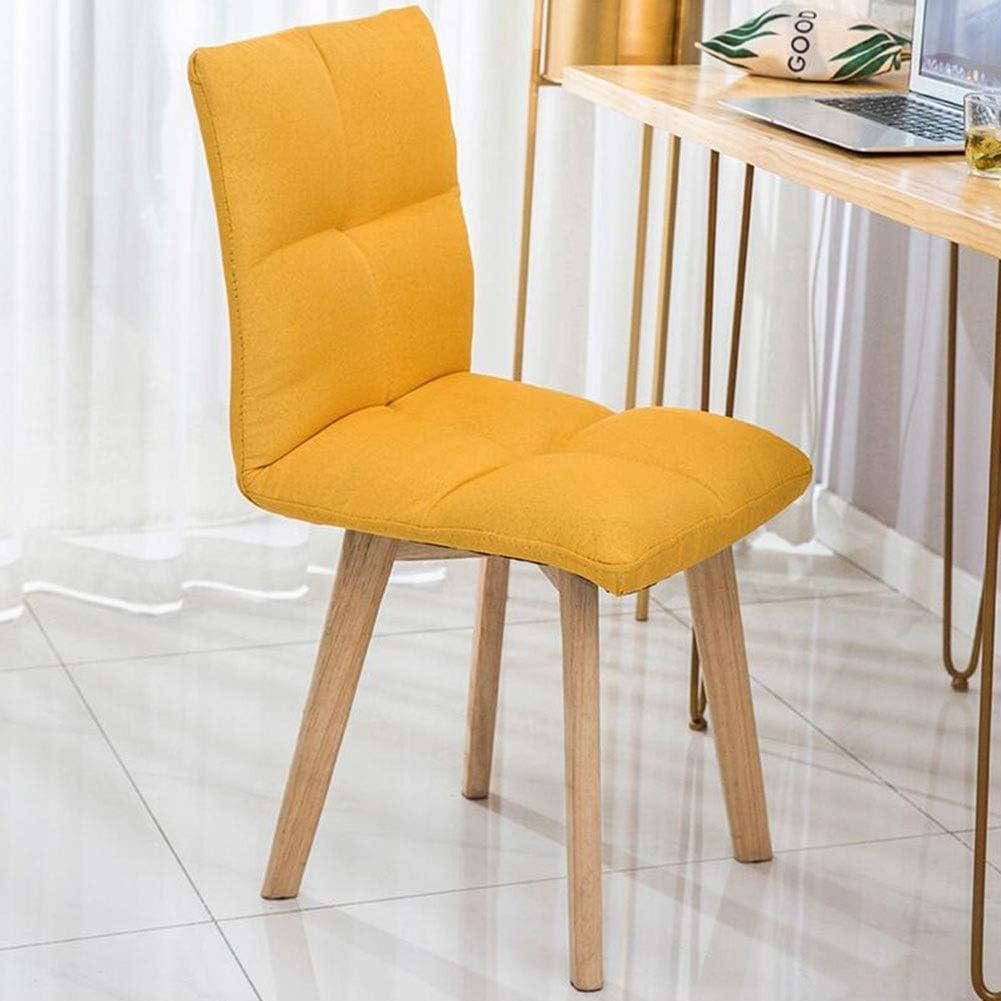 DALL Chaise De Table D'ordinateur Cadre en Bois Chaise De Salle À Manger Couverture De Lin Rembourrés Chaise De Maquillage Facile À Assembler (Color : Yellow) Yellow