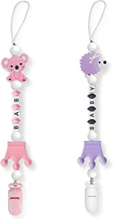 Cuupee Pacifier Clip for Baby, Silicone Teething Chain Beads Soother Holder with Cute Hedgehog Koala Teether for Boys Girl...