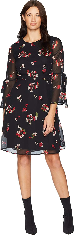 NINE WEST Women's A-line Tie Back Waist Dress with Bell Sleeve Detail