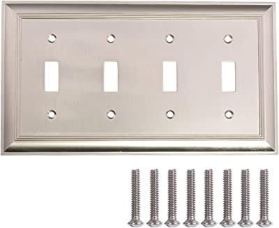 Amazon Basics Quadruple Toggle Light Switch Wall Plate Satin Nickel 1 Pack