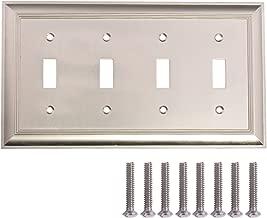 AmazonBasics Quadruple Toggle Light Switch Wall Plate, Satin Nickel, 1-Pack