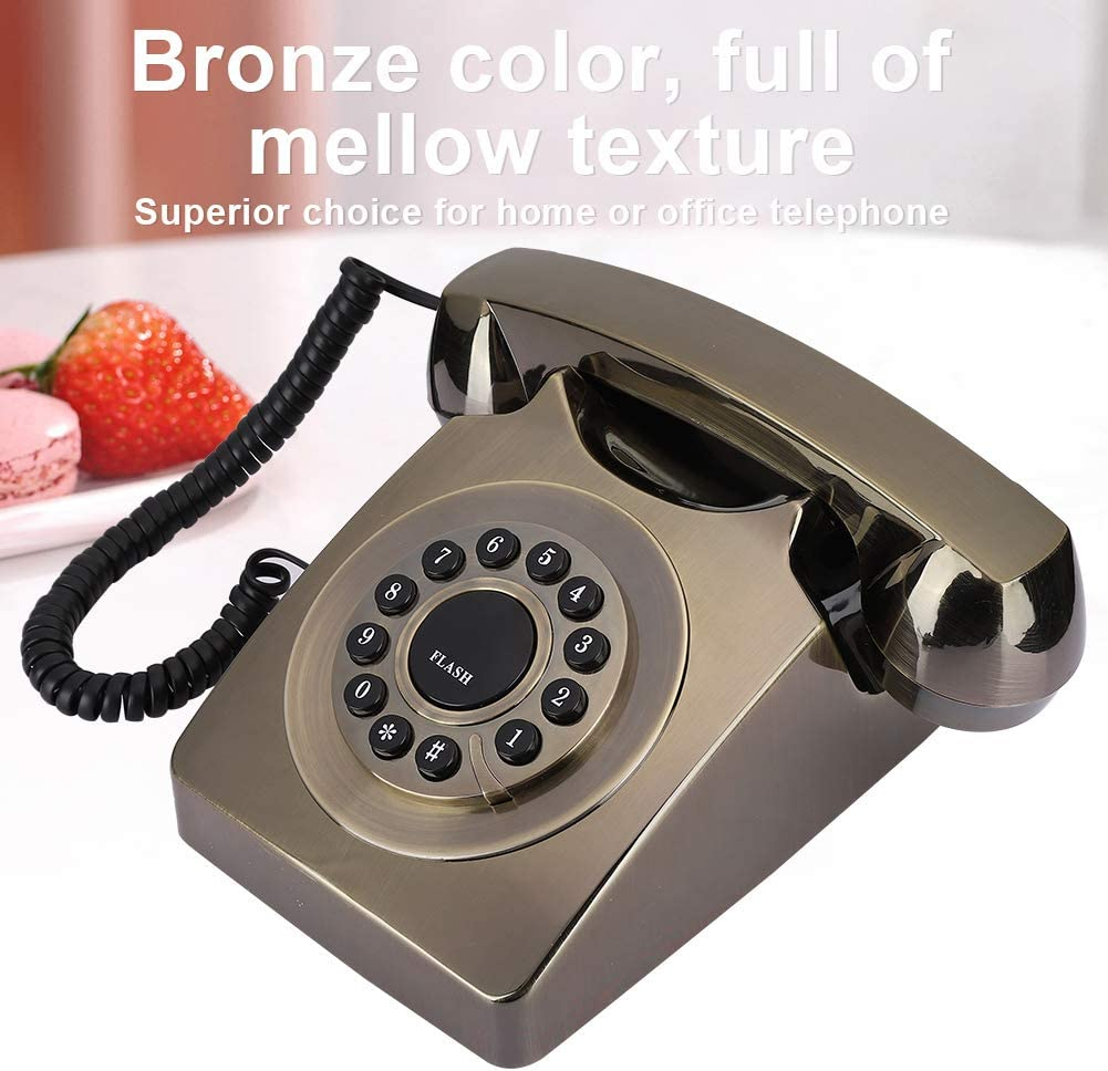 Convenient And Reliable for Office Home Germerse Retro Telephone Bronze Color Designed With Ringtone Telephone Bronzed
