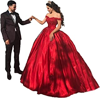 Women's Off Shoulder lace Applique Prom Dress Satin Quinceanera Ball Gowns