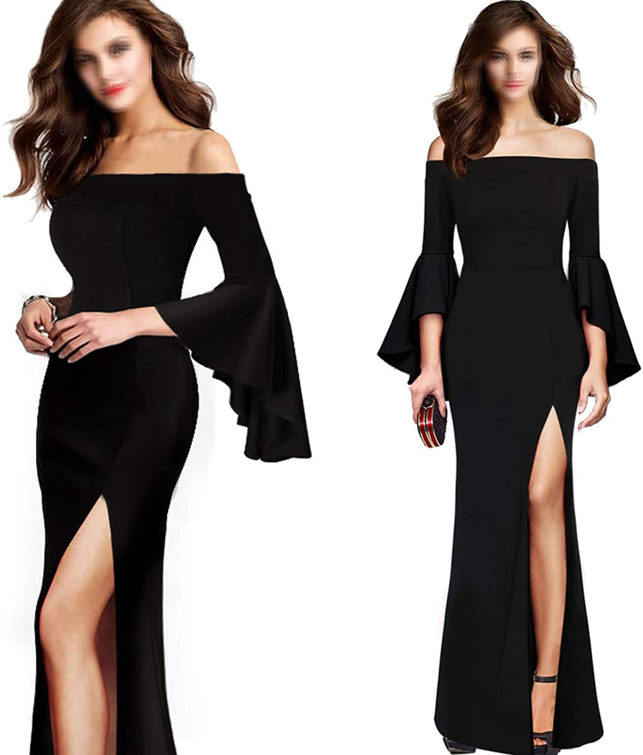 TheUniqueHouse Formal Party Dress Womens Elegant Flare Bell Sleeves Off Shoulder High Slit Bodycon Maxi Dress