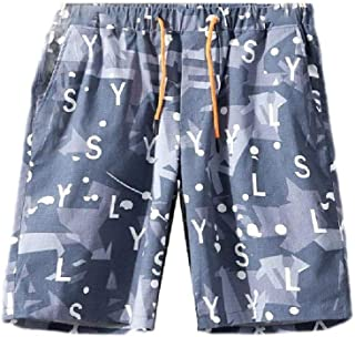 MogogNMen Floral Print Drawstring Summer Casual Leisure Straight-Fit Shorts