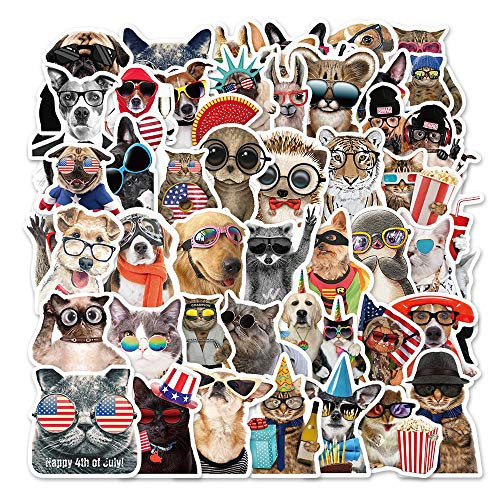 YZFCL Cute Personality Wearing Glasses Animal Graffiti Stickers Decorated Suitcase Skateboard Waterproof PVC Stickers 50pcs