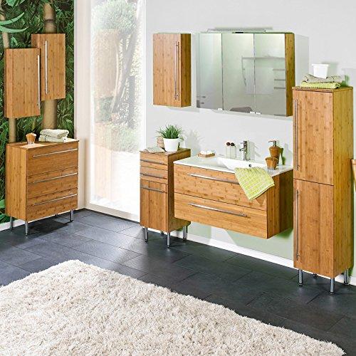 Loma Dox Juego completo mueble de baño bambú maciza lacada, lavabo con mineral fundido Platillos, B X H X T aprox.: 267x 200x 48,1cm