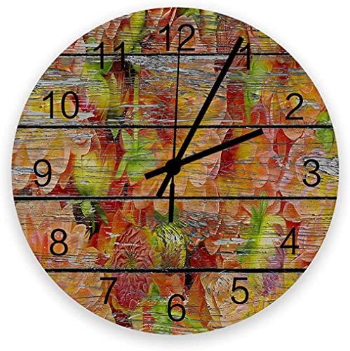 Reloj silencioso de 30,48 cm para decoración de pared – Relojes de madera vintage, fáciles de leer para oficina, cocina, dormitorio, sala de estar, aula, flor pavimentada de grano de madera