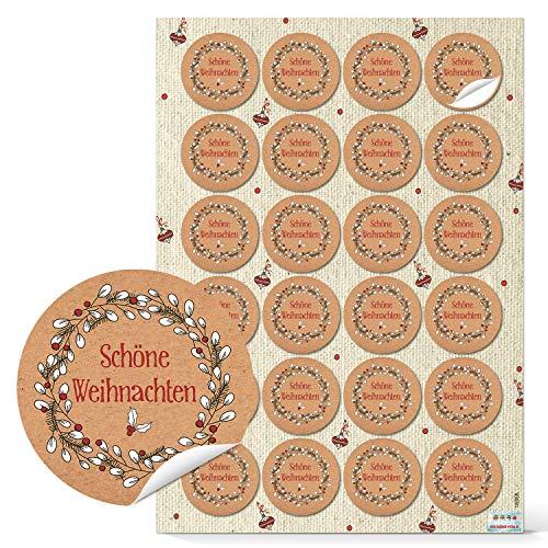 Logbuch-Verlag 24 kleine runde Weihnachtsetiketten zum Aufkleben auf Weihnachten Geschenke Sticker für die Weihnachtsverpackung Etiketten Verpackung Kraftpapier