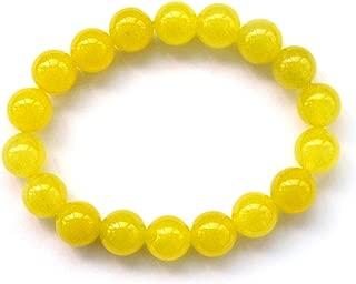 10mm Yellow Stone Beads Yoga Meditation Wrist Japa Mala Rosary Bracelet