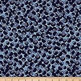 Stoffabric Dänemark Sommerbeeren Kreise Blau Stoff