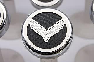American Car Craft 053013-RD Red Carbon Fiber Fluid Cap Cover Set, 5 Piece (Corvette Flag Emblem)