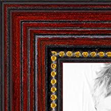 ArtToFrames 24x48 inch Cherry with Gold Beads Wood Picture Frame, 2WOM80801-CHY-24x48