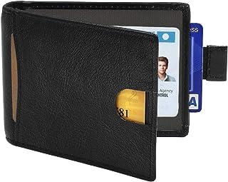 Slim Wallets for Men with Money Clip, HIPPIH RFID Blocking Genuine Leather Credit Card Holder - Minimalist Front Pocket Wallet with Gift Box (Black)