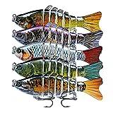 5 Señuelos de Pesca, Articulado Cebos de Pescar Artificiales Multi Articulado Señuelos Pesca Mar para Calamar Lubina Río Mar