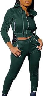 2 Piezas Chándal Mujer Conjunto, Sudaderas Mujer con Capucha Cremallera + Pantalones Deportivos Pijamas - Chándales para Mujer